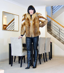 Back At The Start (1) (Toni Furre) Tags: fox fur coat jacket black leather pants trousers boots