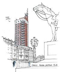 Turin, torre Litoria, 1934 (gerard michel) Tags: italia torino place skyscraper tour artdéco architecture sketch croquis