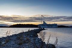 Sunrise and a cruiseship. (envall.magnus) Tags: sunrise sky ocean archipelago silja line clouds sweden sverige österåker åkersberga skeppsdal morning