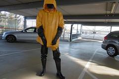 parking lot (lulax40) Tags: rubber rainwear rubberist raingear rubberfetish gummistiefel gummi gummikleidung waders wathosen gummimantel gummiregenkleidung gloves hood guy cotten pvc