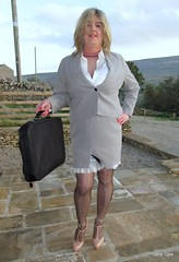 Bag of tricks (janegeetgirl2) Tags: transvestite crossdresser crossdressing tgirl tv ts trans jane gee seamed fully fashioned stockings suspenders garter belt high heels mini skirt satin blouse suit business peeking slip video