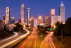Atlanta Blue Hour (twomphotos) Tags: atlanta usa dawn blue hour skyscraper sunrise light effect reflection morning bestoftrips