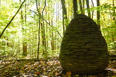 (sfrikken) Tags: new york sapsucker woods cornell ornithology lab ithaca cairn art sculpture stone andy goldsworthy trail autumn fall hoeypileated