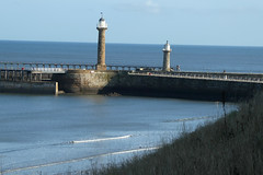 whitby-pier (jean.nesbitt) Tags: whitby steampunk events coast yorkshire harbour sea waves lighthouse