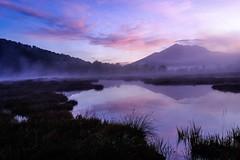 mountains reflection (makriver) Tags: national purple bog pond japan oze mist fog cloud sky mountains reflection daybreak sunrise landscape shadow silhouette