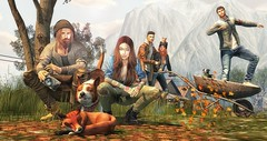 Journey between friends. (L'Homme Magazine SL November 2019) 🐾🍂🍁 (brian.werefox) Tags: findyours netherwood magazine lhomme secondlife issue avatar virtual life friends autumn dogs coldash nutmeg mgmens