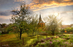 Hidden behind trees (Jean-Michel Priaux) Tags: scharrabergheim paysage nature landscape church village patrymony paint painting trees sunset sunlight priaux sring sky calm place light fantasy fairyland fayritale