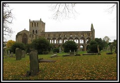 Jedburgh, Scotland 5. (M E For Bees (Was Margaret Edge The Bee Girl)) Tags: jedburgh scotland abbey ruin old outdoors stone autumn canon town gravestones graveyard green trees leaves tower arches windows dull desolate atmospheric
