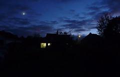Twilight time (Jean-Luc Léopoldi) Tags: nocturne tombéedelanuit nightfall moon lune éclairagepublic maison lumière darkness obscurité crépuscule twilight fenêtre window lampadaire