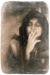 Altered State (Wilkins Flasher) Tags: woman smoking topaz reedit painterly sketch pictorial
