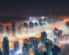 Marina Fog at Night (Sebastian Tontsch) Tags: fog dubai clouds skyline cityscape marina