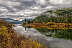 Island Home (Phil's Pixels) Tags: autumn fall fallfoliage reflections lodge cabin salmonlake montana