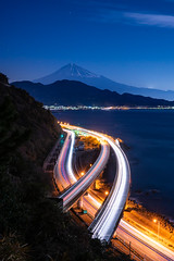 Fujisan. (bgfotologue) Tags: photo fujiyama 本州 winter 風光 tracks 薩埵峠 雪 富士山 攝影 highway shizuoka bgphoto 風景 gitzo 靜岡 mtfuji 冬 image 關東 snow 東海道 bellphoto night photography imaging landscape tumblr 500px 車軌 日本 longexposure tripod japan 夜景