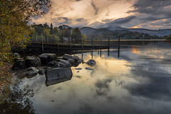 From the rocks (Through Bri`s Lens) Tags: cumbria derwentwater reflection jetty rocks autumn autumncolours clouds brianspicer canon5dmk3 canon1635f4 lee09softgrad