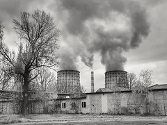 Steam factory (wojciechpolewski) Tags: industrial industry pair steam chimneys poland wpolewski landscape clouds sky blackandwhite blackwhite blanconegro schwarzweis photo photos