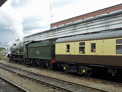 45 6024 King Edward I and support coach, Shrewsbury Station P1030810 (Clementinos2009) Tags: 2011cathedralsexpresstoludlowandshrewsbury11thjune steamdreams 6024kingedwardi shrewsburystation