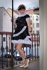 Maid (blackietv) Tags: maid dress gown black white satin petticoat lace apron tgirl crossdresser crossdressing transgender outside