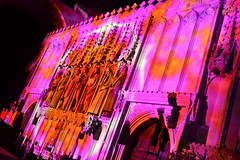 Highlighting Martyrs (dhcomet) Tags: stalbans cathedral spacevoyage event herts hertfordshire illumination church alban cofe nave martyr lit lights coloured