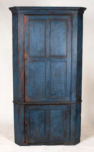 Blind door corner cupboard in old blue paint ($1,008.00)