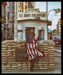 Checkpoint Charlie (michael_hamburg69) Tags: berlin germany deutschland checkpointcharlie checkpoint grenzübergang border conrol sektor checkpointc berlinwall crossingpoint allies retro filter edit analogfilter nikcollection soldier army soldat touristattraction