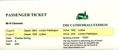00b Cathedrals Express Premier Dining Passenger ticket. London Paddington-Ludlow  img299 (Clementinos2009) Tags: 2011cathedralsexpresstoludlowandshrewsbury11thjune steamdreams 6024kingedwardi