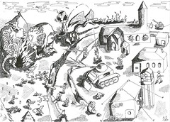 Base attack (T.D.M.E) Tags: artwork creatures explosions gargoyle imagination infected nightmare tank zombies inktober bangerbishop inktober2019 attack base mutations
