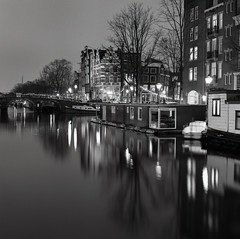 Amsterdam (Angel Flores 2) Tags: amsterdam night cityscape 6x6 square mediumformat hasselblad architecture urban explore bridge lights black white holland netherlands blackandwhite