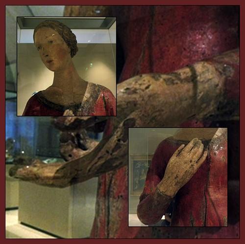 4 - Petit Palais, Musée des Beaux-Arts de la Ville de Paris - Giovanni di Turino (Attribué à), Vierge d'Annonciation, Bois polychrome (noyer), Vers 1420-1430 - Détails