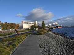 Elliott Bay Trail - after revisions for people at the Expedia  campus (Seattle Department of Transportation) Tags: seattle sdot transportation donghochang elliottbay trail waterfront expedia biking biker spaceneedle silos path blue sky clouds