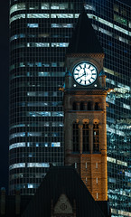 Eleventh Hour in the 416 (RoTTeN aPPLe WaYFaReR) Tags: toronto ontario canada sony mirrorless sonya7riii sonyilce7rm3 fe135mmf18gm night queencity hogtown tdot clock outside outoftime fall park square triangle victorian downtown windows white flourescent