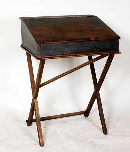 Lift top mill desk on stand with old blue paint ($420.00)