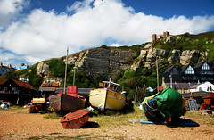 Hastings Land Based Fishing Fleet with East Hill Lift behind (neil mp) Tags: hastings sussex eastsussex coast walk 1066countrywalk beach shingle boats fishingboats cliff easthilllift easthill