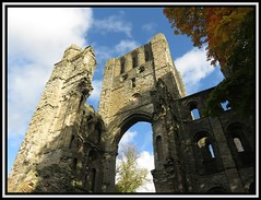 Kelso Abbey 2. (M E For Bees (Was Margaret Edge The Bee Girl)) Tags: kelso scotland abbey ruin old christianity arch windows trees autumn sun blue sky stone grey canon white clouds