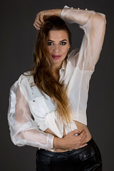 Kornelia in white blouse (piotr_szymanek) Tags: kornelia korneliaw woman young skinny face eyesoncamera longhair portrait studio white blouse 1k 5k 20f 10k