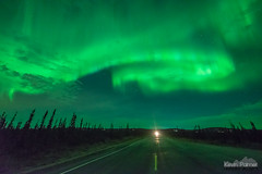Nordale Road (kevin-palmer) Tags: aurora auroraborealis northernlights geomagneticstorm green night sky stars space astronomy astrophotography glow bright fairbanks alaska october fall autumn nikond750 sigma14mmf18 borealforest nordaleroad clouds headlights