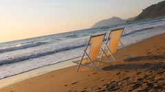 Space for Two (endresárvári) Tags: canon beach greek greece sunbed summer holiday wave waves mountain sea corfu korfu ionian ioniansea sand coast sun sunset calm relaxation deckchair deckchairs sunbeds