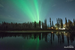 Chena River Aurora (kevin-palmer) Tags: aurora auroraborealis northernlights geomagneticstorm green night sky stars space astronomy astrophotography glow fairbanks alaska october fall autumn nikond750 sigma14mmf18 chenariver water reflection cabin nordaleroad orion mirror