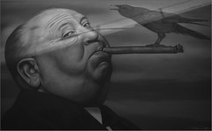 **ALFRED HITCHCOCK PIECE BY OWEN DIPPIE** (Rich Zoeller Photography) Tags: richzoeller zoeller nyphotographer alfredhitchcock director crow bird owendippie art brooklyn streetart massive sony sonya7r3 detail bw blackandwhite ny nyc legend newyork photo cigar