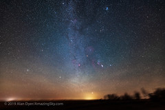 Canon EOS Ra Test Image — Orion and Winter Stars Rising (Amazing Sky Photography) Tags: capella m44 milkyway orion pleiades rising sirius airglow constellations glows lightpollution stars trees winter