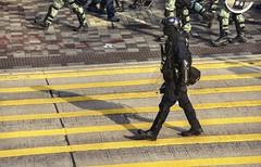 Stepping on yellow (PeterThoeny) Tags: kowloon hongkong jordan tsimshatsui austinroad nathanroad protest hongkongprotests police militarization riot gear freedom streetphotography city outdoor sony sonya6000 a6000 sel55210 1xp raw photomatix hdr qualityhdr qualityhdrphotography fab100