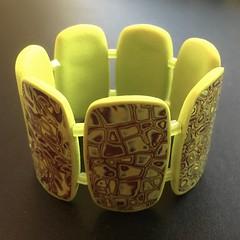 Lime and burgundy polymer clay bracelet (bycreativehands) Tags: polymerclay bracelet cuff