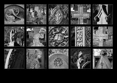 Dean and Manor Road Cemetery, Scarborough (S.R.Murphy) Tags: deanroad manorroad cemetery scarborough yorkshire blackandwhite monochrome polyptych panel mosaic lightroom fujifilmxt2 fujifilmxf1680mm sculpture art stonemasonery