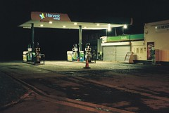 Canon EOS 3 (camera_holic) Tags: canon eos 3 35mm film pro porfessional camera battery grip south glos gloucestershire analogue night long exposure petrol gas service station lights dark forecourt manfrotto tripod