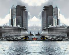 Lipstick on a Pig (beelzebub2011) Tags: netherlands holland rotterdam mirrorimage abstract liner ship