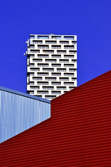 Between the lines (James_D_Images) Tags: architectural architecture lines geometry compression buildings corrugated metal skyscraper highrise windows construction blue sky red vancouver britishcolumbia