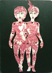 Jointed Paper Doll Sisters (JuliaPeculiart) Tags: paperdoll paper doll jointed articulated ooak sisters handmade
