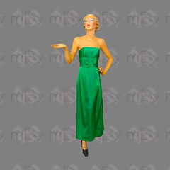 1950s Vibrant Green Sheath Gown, Strapless with Cummerbund Type Detail at Midriff, Full Length, Bow at Front and Back, By Margot Bywater (Rickenbackerglory.) Tags: vintage 1950s vibrant green sheath gown strapless cummerbund fulllength bow margotbywater siegel mannequin