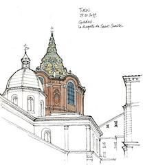 Guarini, chapelle du Saint-Suaire (gerard michel) Tags: italia torino église baroque guarini sketch croquis