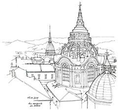 Turin, chapelle du Saint-Suaire et mole Antonelliana (gerard michel) Tags: italia torino panorama église coupole guarini sketch croquis baroque
