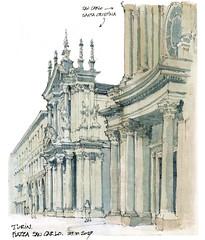 Turin, piazza San Carlo (gerard michel) Tags: italia torino église baroque place sketch croquis architecture aquarelle watercolour